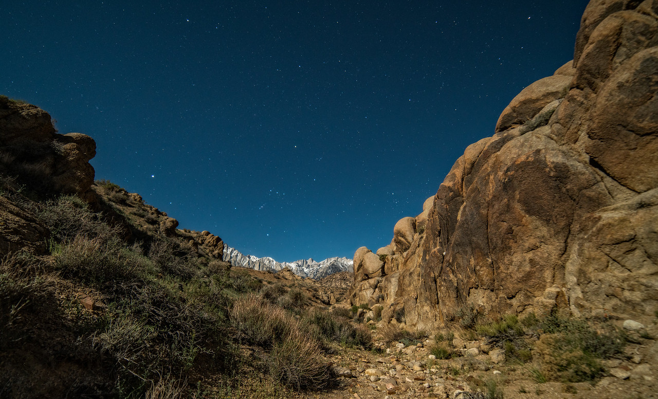 Mount Whitney framed by Alabama Hills California