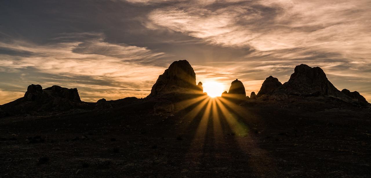 Sunrays at sunset in the desert